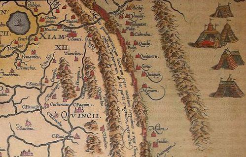 Jurták a kínai Nagy Fal előterében (Ortélius térképe 1584)