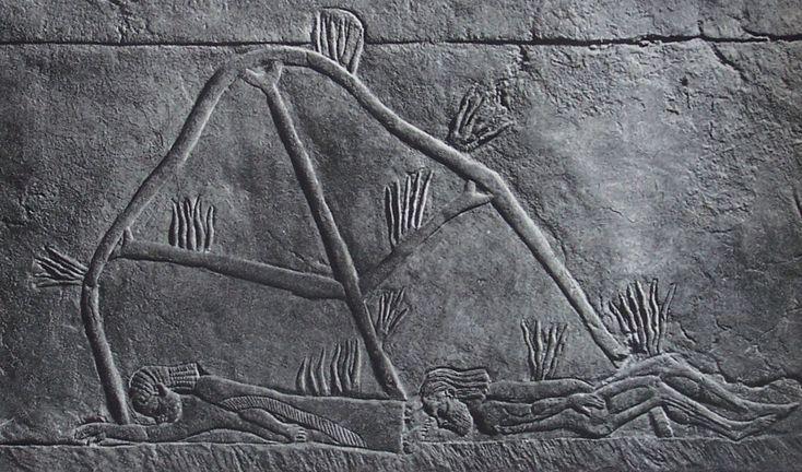 Asszírok által felgyújtott sátor és megölt arabok (dombormű a ninivei királyi palotából)
