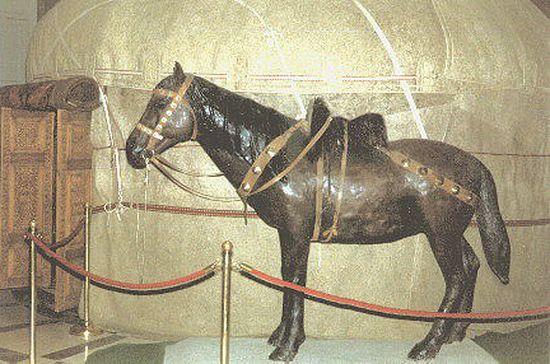 Honfoglaláskori jurta, mellette egy díszesen felszerelt lóval (Nemzeti Múzeum)