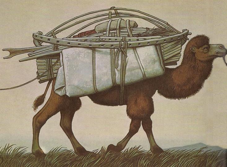 Mongol jurta tevére málházva, ahogy Landström lerajzolta