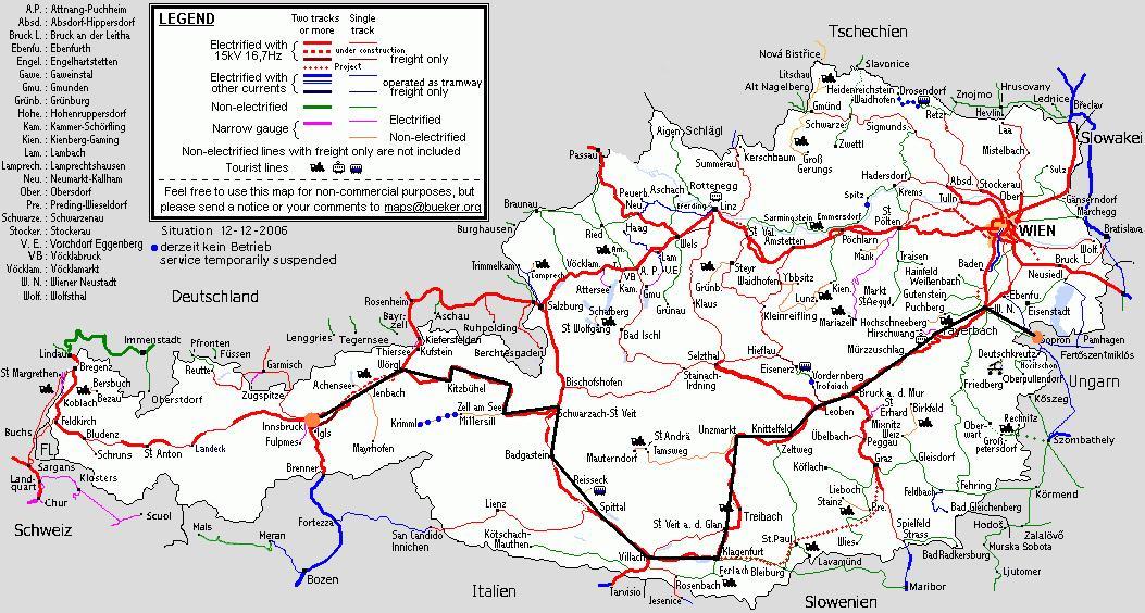 vasúti térkép ausztria Ausztria 2007 vasúti térkép ausztria