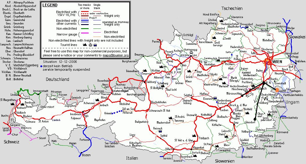 ausztria vasútvonalai térkép Ausztria 2007 ausztria vasútvonalai térkép