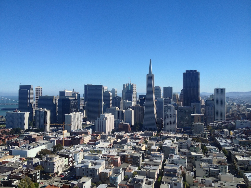 View to SF downtown from Coit Tower