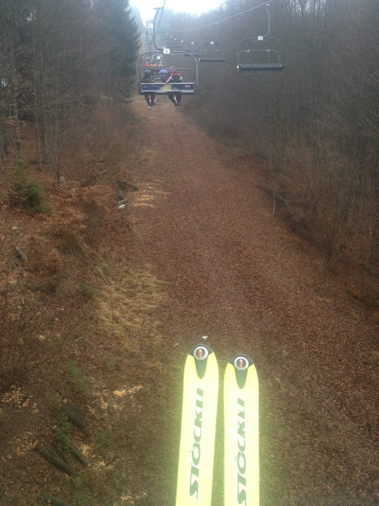 Going up with the chairlift - kind of weired feeling without snow