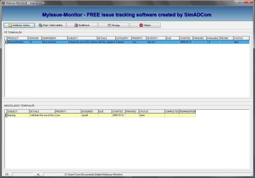 MyIssue-Monitor is a simple issue (bug todo etc..) tracking software. good Screen Shot